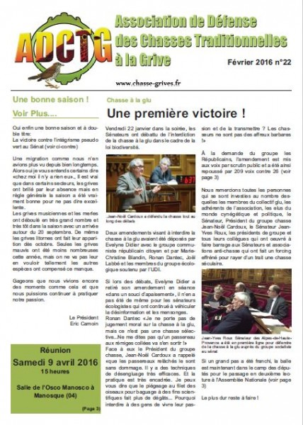 magazine de l'association de defense des chasses traditionnelles à la grive adctg fevrier 2016