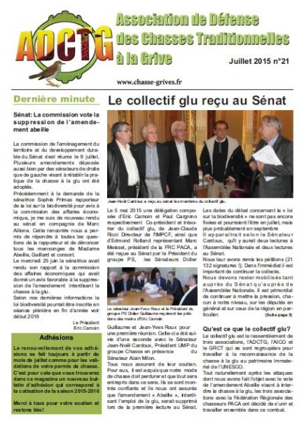 magazine de l'association de defense des chasses traditionnelles à la grive adctg juillet 2015