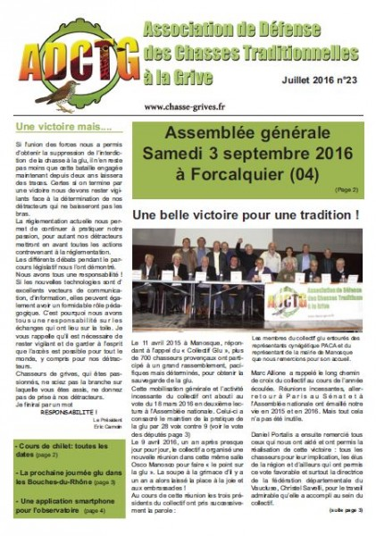 magazine de l'adctg association de defense des chasses traditionnelles a la grive magazine juillet 2016