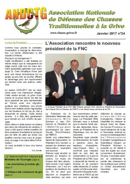 magazine de l'association nationale de defense des chasses traditionnelles à la grive andctg de janvier 2017