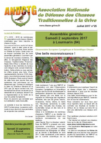 magazine de l'association nationale de defense des chasses traditionnelles à la grive andctg magazine numéro 25 juillet 2017