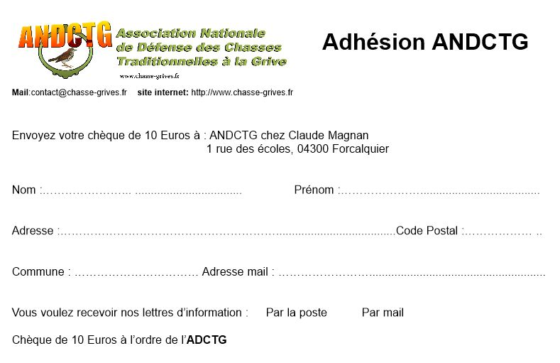 bulletin d'adhesion de l'association nationale de defense des chasses traditionnelles à la grive ANDCTG
